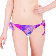 Pink and Purple Marble Waves Bikini Bottoms