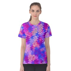 Pink And Purple Marble Waves Women s Cotton Tees