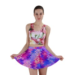 Pink And Purple Marble Waves Mini Skirts
