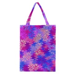 Pink and Purple Marble Waves Classic Tote Bags