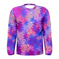 Pink and Purple Marble Waves Men s Long Sleeve T-shirts