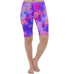 Pink and Purple Marble Waves Cropped Leggings