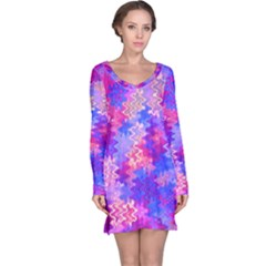 Pink and Purple Marble Waves Long Sleeve Nightdresses