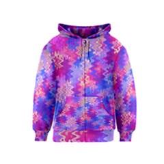 Pink and Purple Marble Waves Kids Zipper Hoodies