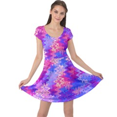 Pink And Purple Marble Waves Cap Sleeve Dresses