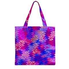 Pink and Purple Marble Waves Zipper Grocery Tote Bags