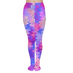 Pink and Purple Marble Waves Women s Tights