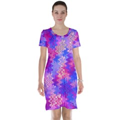 Pink and Purple Marble Waves Short Sleeve Nightdresses