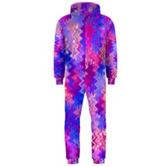 Pink and Purple Marble Waves Hooded Jumpsuit (Men)