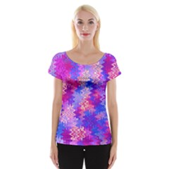 Pink And Purple Marble Waves Women s Cap Sleeve Top