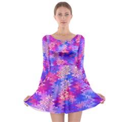 Pink And Purple Marble Waves Long Sleeve Skater Dress