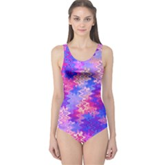 Pink and Purple Marble Waves Women s One Piece Swimsuits