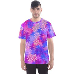 Pink And Purple Marble Waves Men s Sport Mesh Tees