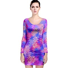 Pink and Purple Marble Waves Long Sleeve Bodycon Dresses