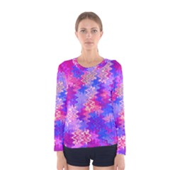 Pink and Purple Marble Waves Women s Long Sleeve T-shirts