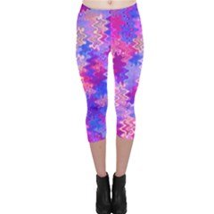 Pink and Purple Marble Waves Capri Leggings