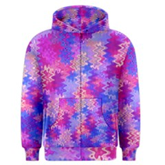 Pink and Purple Marble Waves Men s Zipper Hoodies