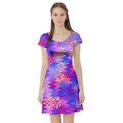 Pink And Purple Marble Waves Short Sleeve Skater Dresses