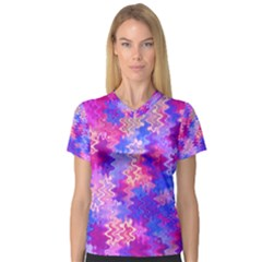 Pink and Purple Marble Waves Women s V-Neck Sport Mesh Tee