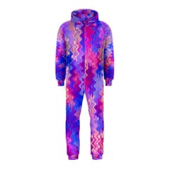Pink and Purple Marble Waves Hooded Jumpsuit (Kids)