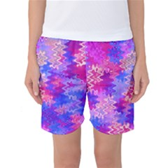 Pink And Purple Marble Waves Women s Basketball Shorts