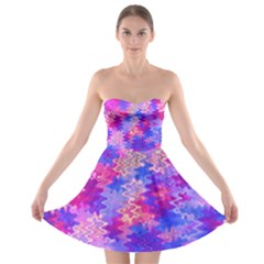 Pink and Purple Marble Waves Strapless Bra Top Dress