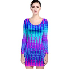 Melting Blues And Pinks Long Sleeve Bodycon Dresses