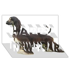 Afghan Hound Full Happy New Year 3D Greeting Card (8x4)