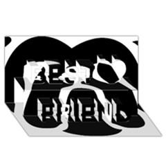 Bulldog Tribal Best Friends 3D Greeting Card (8x4)
