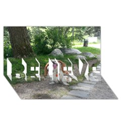 Cav Sitting BELIEVE 3D Greeting Card (8x4)