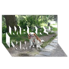 Cav Sitting Merry Xmas 3D Greeting Card (8x4)