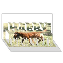 Chesapeake Bay Retriever Retrieving Happy New Year 3D Greeting Card (8x4)