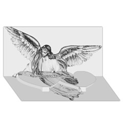 Angel Drawing Twin Heart Bottom 3D Greeting Card (8x4)