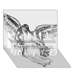 Angel Drawing YOU ARE INVITED 3D Greeting Card (7x5)