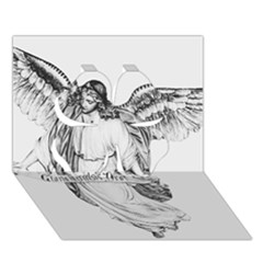 Angel Drawing Clover 3D Greeting Card (7x5)