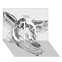 Angel Drawing Peace Sign 3D Greeting Card (7x5)