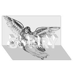 Angel Drawing SORRY 3D Greeting Card (8x4)