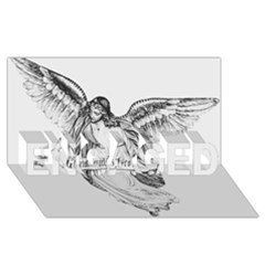 Angel Drawing ENGAGED 3D Greeting Card (8x4)