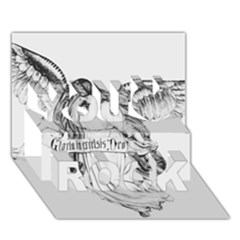 Angel Drawing You Rock 3D Greeting Card (7x5)