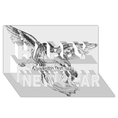 Angel Drawing Happy New Year 3D Greeting Card (8x4)