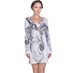 Angel Drawing Long Sleeve Nightdresses