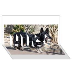 Black German Shepherd Full HUGS 3D Greeting Card (8x4)