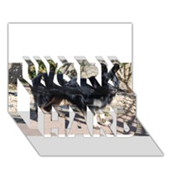 Black German Shepherd Full WORK HARD 3D Greeting Card (7x5)
