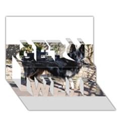 Black German Shepherd Full Get Well 3D Greeting Card (7x5)