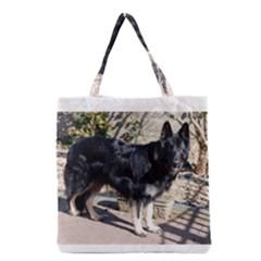 Black German Shepherd Full Grocery Tote Bags
