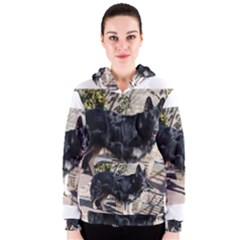 Black German Shepherd Full Women s Zipper Hoodies