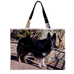 Black German Shepherd Full Zipper Tiny Tote Bags