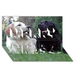 2 Labs Merry Xmas 3D Greeting Card (8x4)