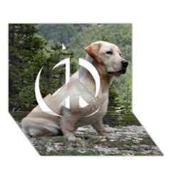 Yellow Lab Sitting Peace Sign 3D Greeting Card (7x5)