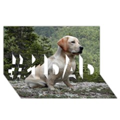 Yellow Lab Sitting #1 DAD 3D Greeting Card (8x4)